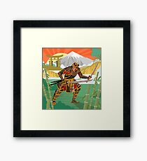 samurai warrior with katana blades walking in a bamboo forest near a river and japanese gate Framed Print