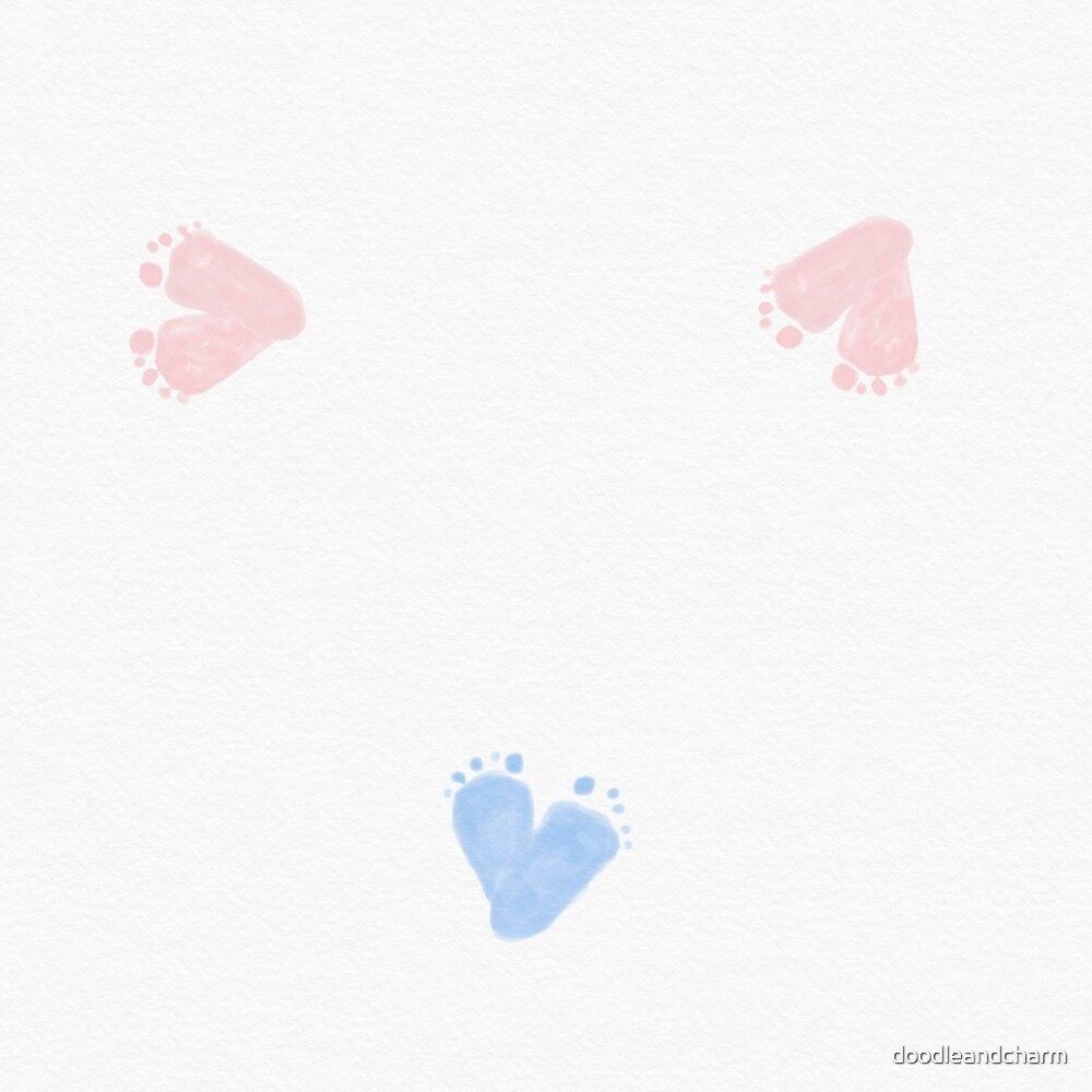 Footprints heart shaped pink blue by doodleandcharm
