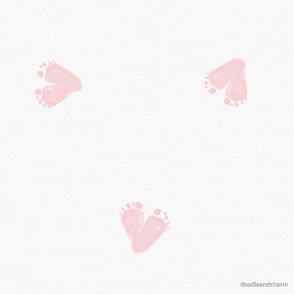 Footprints heart shaped pink  by doodleandcharm