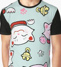 Pink Maneki Neko Graphic T-Shirt