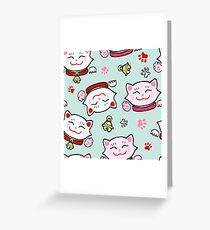 Pink Maneki Neko Greeting Card