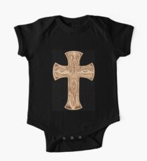 Abstract Face and Eyes Drawing Burnt On Wood Cross One Piece - Short Sleeve