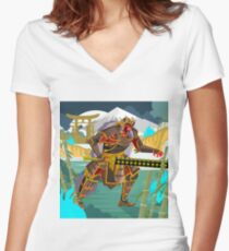 oni chinese japanese demon folklore troll with samurai armor in bamboo forest Women's Fitted V-Neck T-Shirt