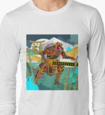 oni chinese japanese demon folklore troll with samurai armor in bamboo forest Long Sleeve T-Shirt