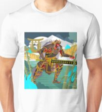 oni chinese japanese demon folklore troll with samurai armor in bamboo forest Unisex T-Shirt