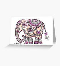 Hand painted elephant drawing illustration paisley art Greeting Card