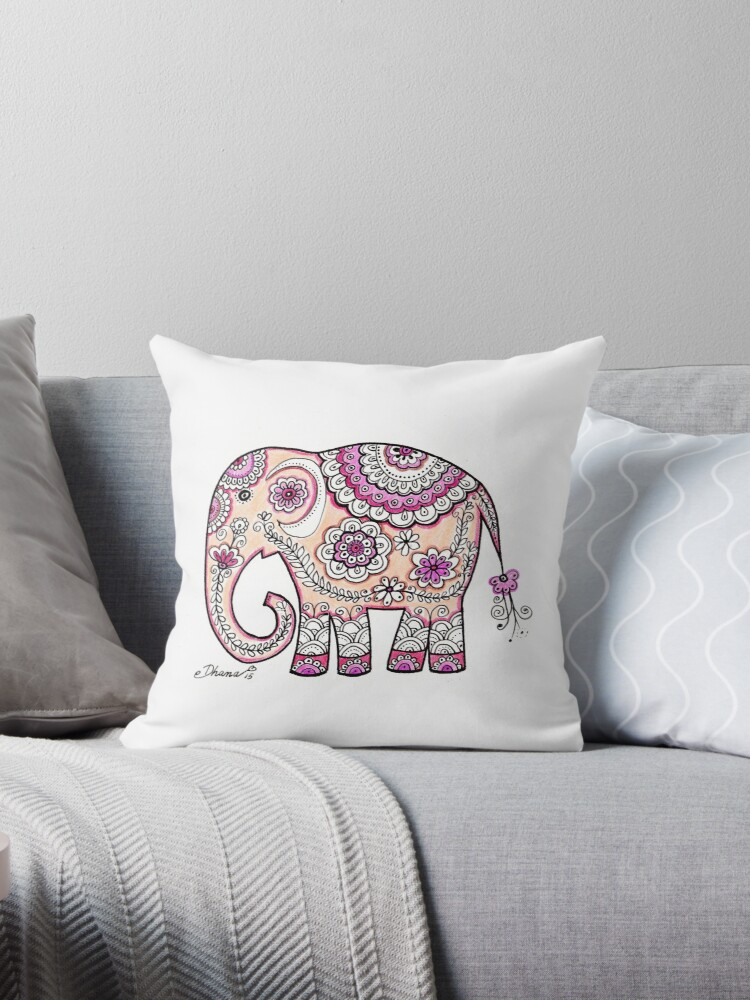 Hand painted elephant drawing illustration paisley art by DhanaART
