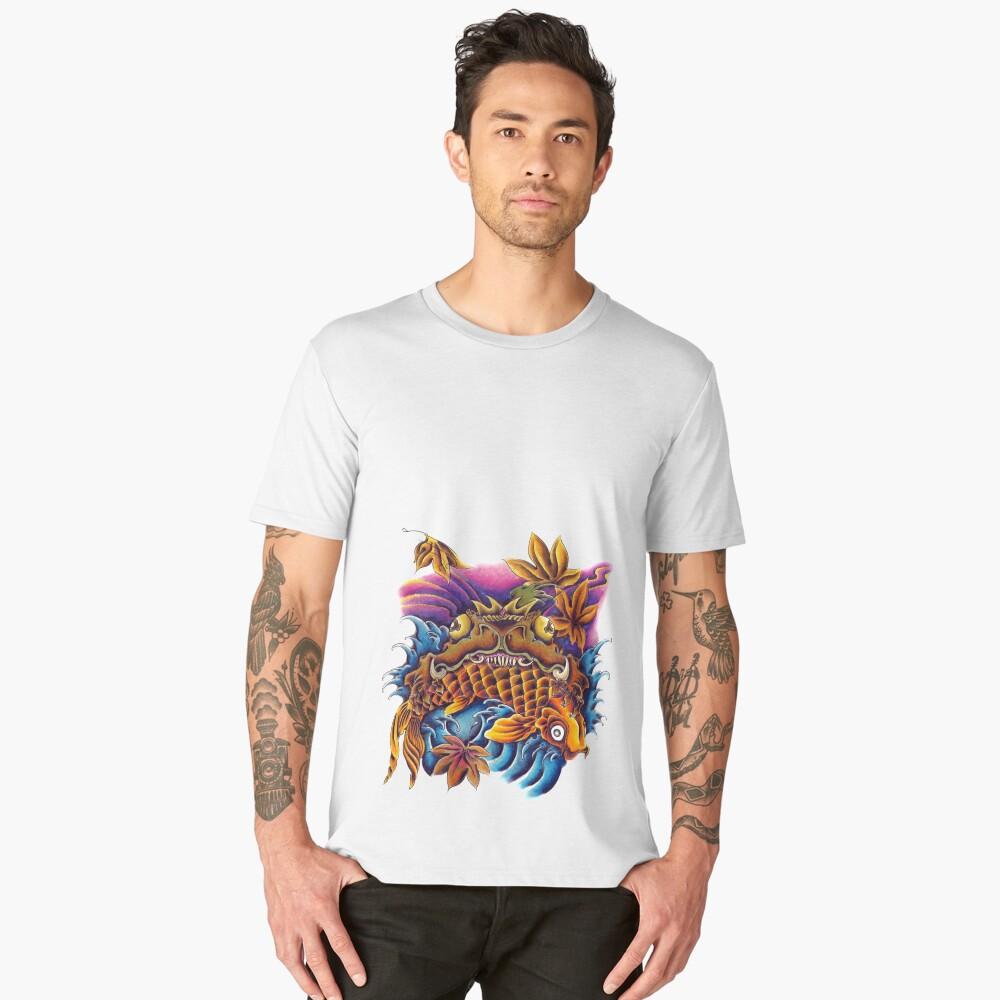 Frog Eating a Koi Fish Japanese FolkLore Men's Premium T-Shirt Front