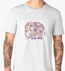 Hand painted elephant drawing illustration paisley art Men's Premium T-Shirt