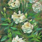 """White roses, green leaves"", pastel painting, floral art by clipsocallipso"