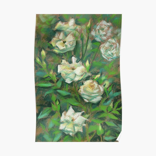 White Roses, Green Leaves, Floral Pattern Poster