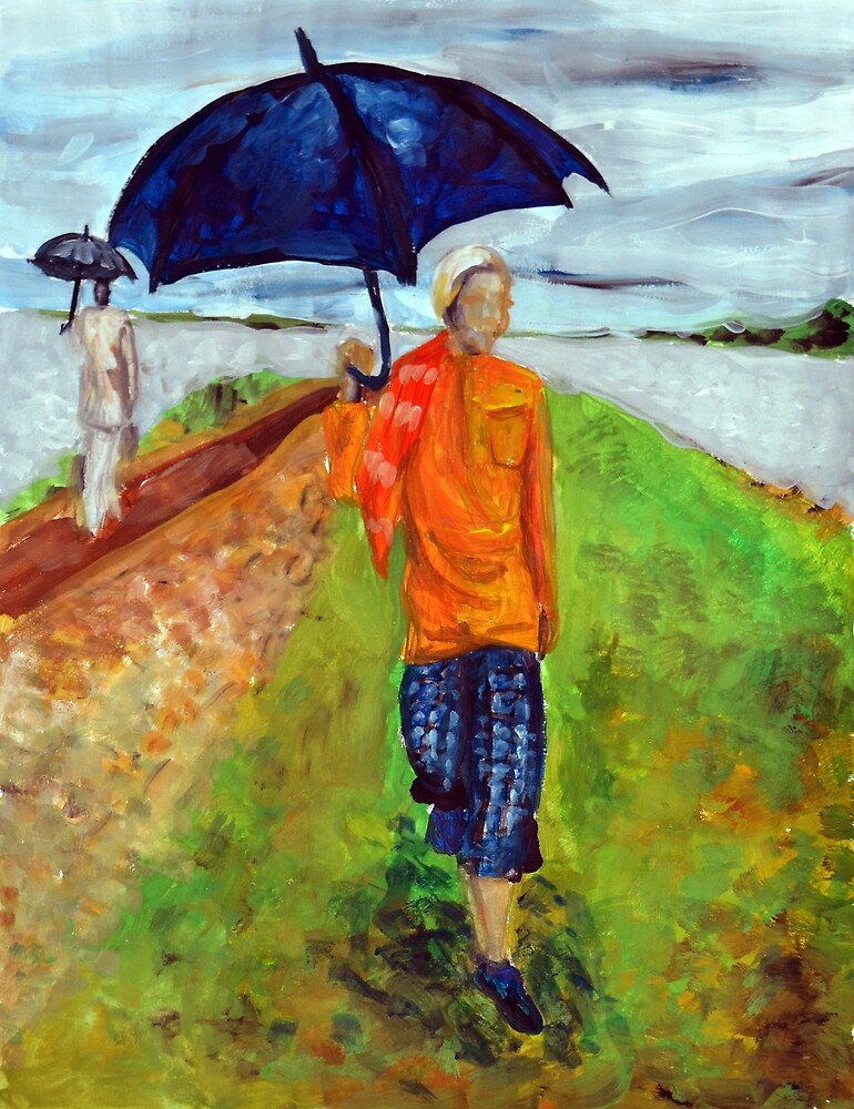 Painting illustration of people walking in the rain in nature with umbrellas  by oanaunciuleanu