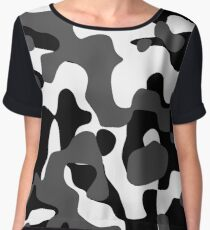 ARMY BLACK WHITE Chiffon Top