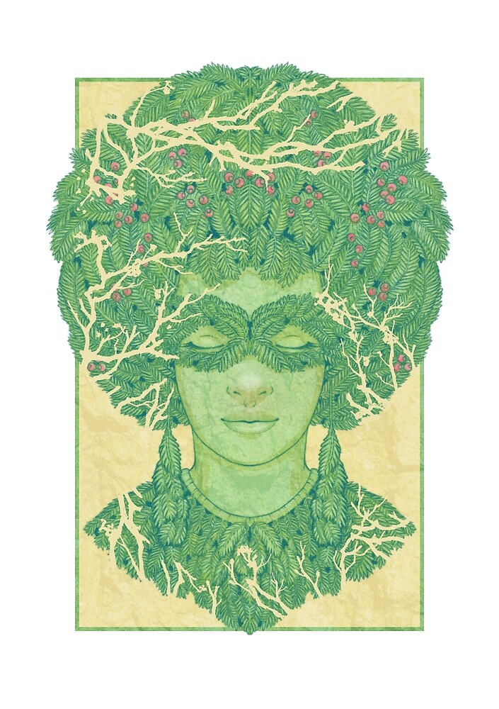 Green Afro - Forest Faces by Brett Miley