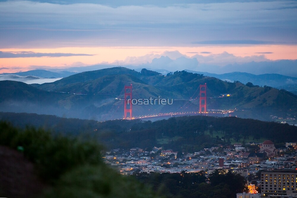 Golden Gate Bridge from Twin Peaks at Sunset by rosatrieu