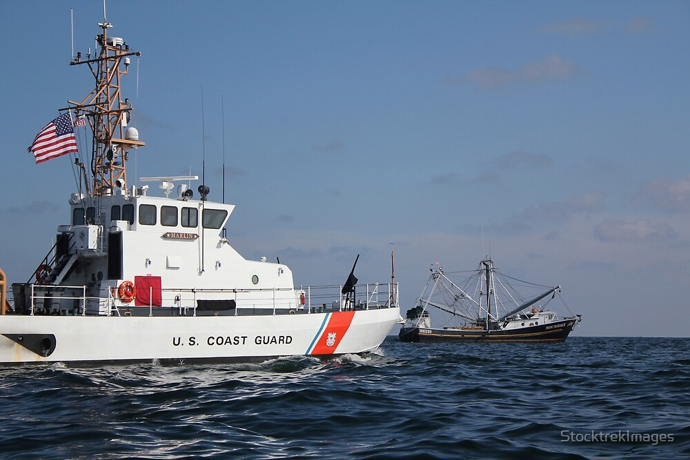 U.S. Coast Guard Cutter Marlin patrols the waters south of Pensacola Bay. by StocktrekImages