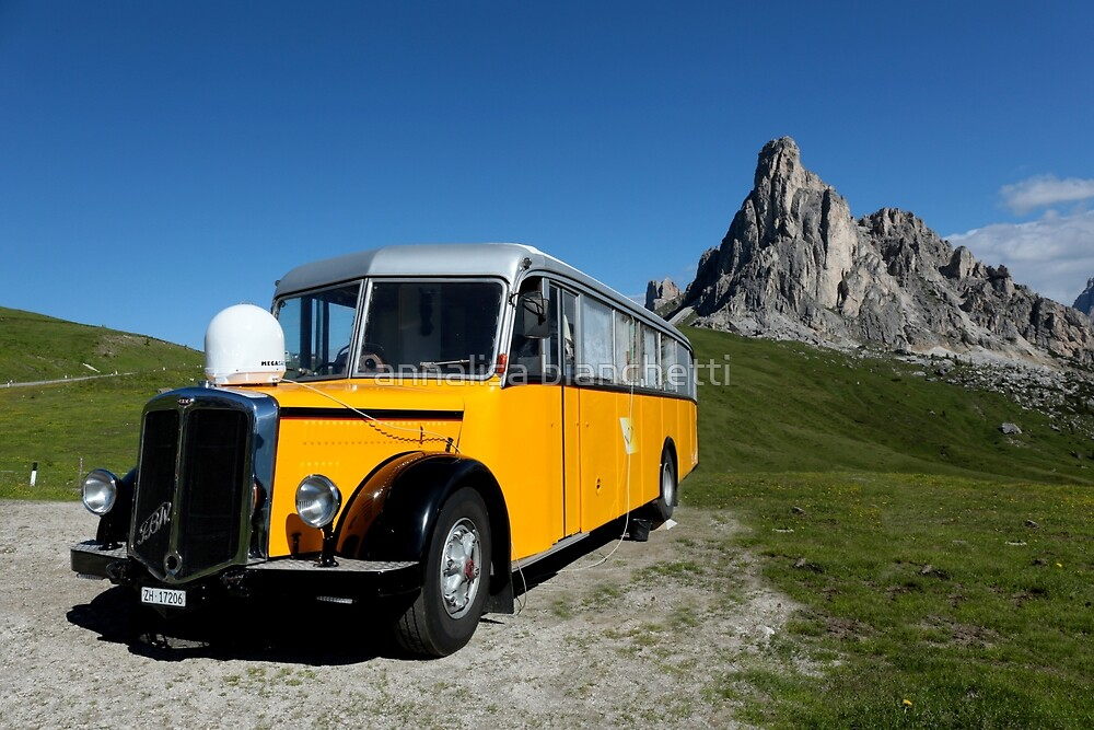 Old Swiss Post Car at Giau Pass by annalisa bianchetti