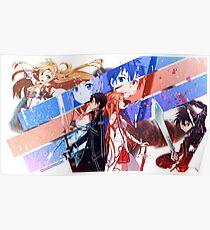 Kirito and Asuna Face Poster