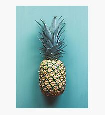 Pineapple on a blue plate Photographic Print