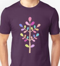 Turquoise; Minimalist Floral Vector Stem; Spring Happiness Unisex T-Shirt