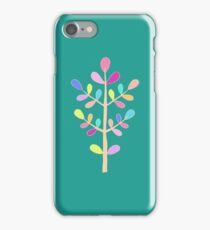 Turquoise; Minimalist Floral Vector Stem; Spring Happiness iPhone Case/Skin