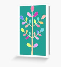 Turquoise; Minimalist Floral Vector Stem; Spring Happiness Greeting Card