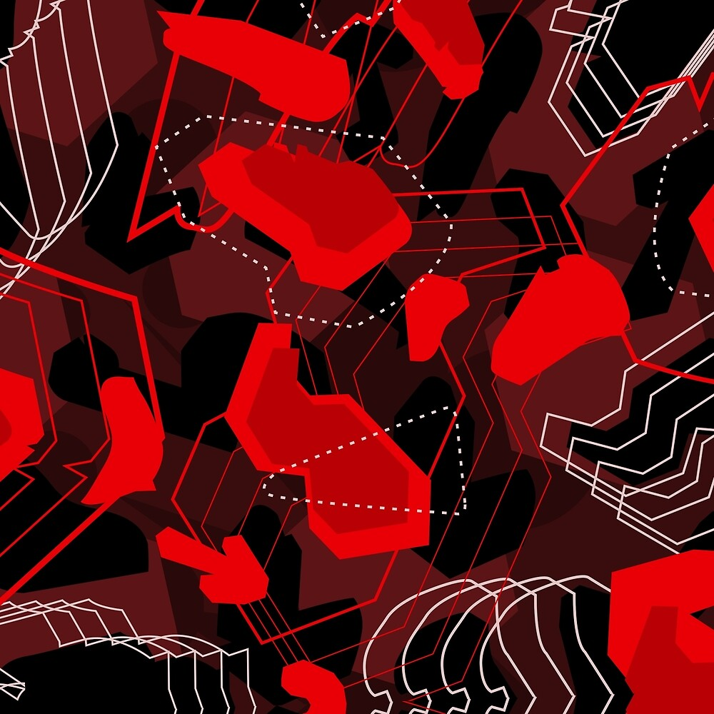 3017 Red for Redbubble Camouflage by Wave Lords United
