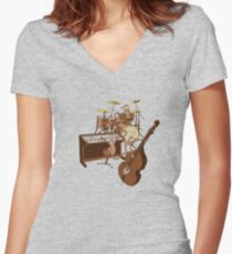 Funky Monkey Band Women's Fitted V-Neck T-Shirt