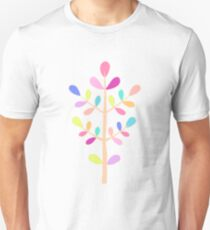 White; Minimalist Floral Vector Stem; Spring Happiness Unisex T-Shirt