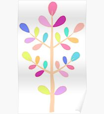 White; Minimalist Floral Vector Stem; Spring Happiness Poster