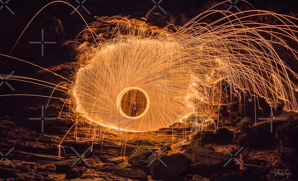 Steel Wool Spinning at London Bridge, Portsea, Victoria, Australia. by VickiWalsh