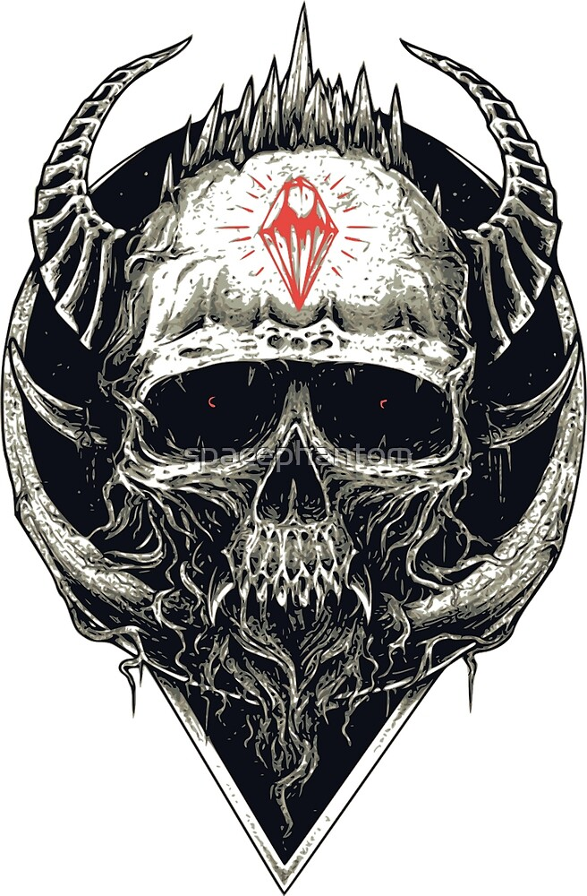 Gothic Style Skull with Horns by spacephantom