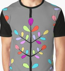 Minimalist Floral Vector Stem; Spring Happiness Graphic T-Shirt