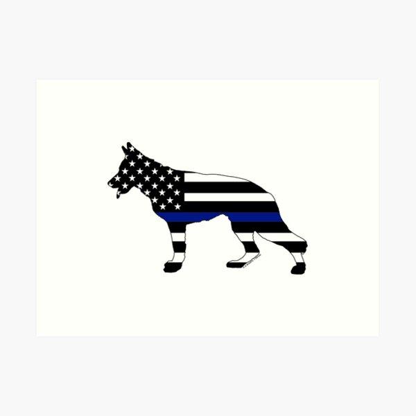 German Shepherd: Thin Blue Line Art Print