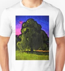 Green Tree with a Pink and Blue Sky Unisex T-Shirt