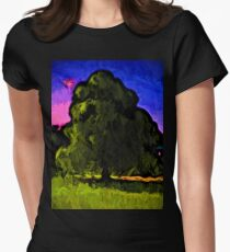 Green Tree with a Pink and Blue Sky Womens Fitted T-Shirt