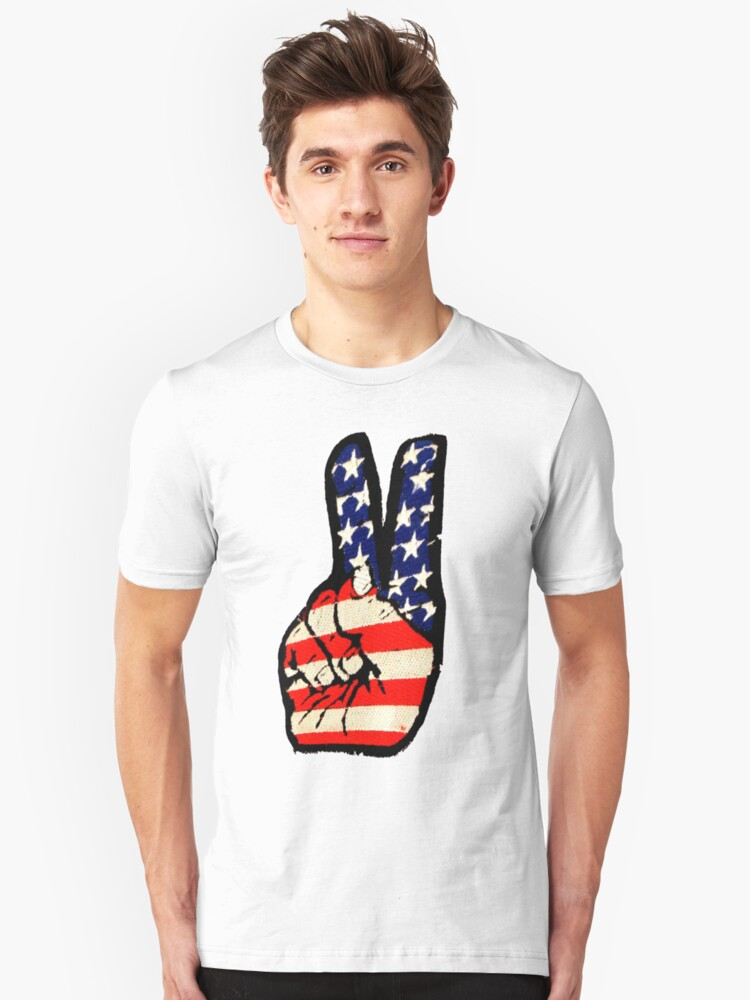 'Peace sign' (Fingers-classic emboidered 'patch'.) USA. Unisex T-Shirt Front