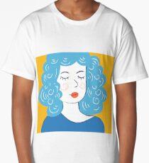 Cute girl art. Modern hipster style.  Long T-Shirt