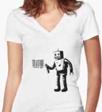Banksy Robot Women's Fitted V-Neck T-Shirt