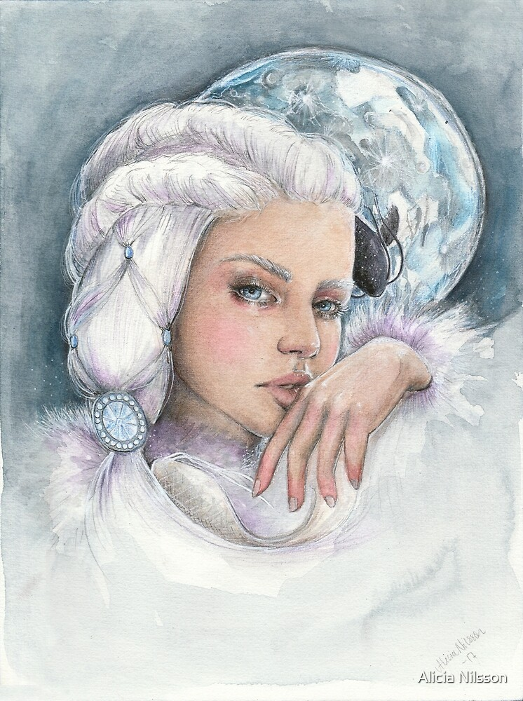 "Moon princess ""Yue"" watercolour and ink painting by Alicia Nilsson"