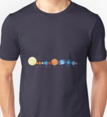 Collection funny cartoon bright planets. Unisex T-Shirt