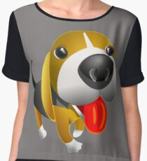 Cute Basset Hound Dog  Chiffon Top
