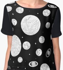 Black white pattern planets of the solar system. Chiffon Top