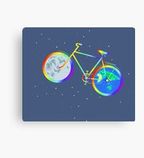 Silhouette of a rainbow bike is isolated against a background of stars. Canvas Print