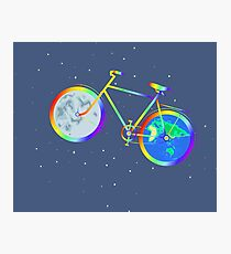Silhouette of a rainbow bike is isolated against a background of stars. Photographic Print