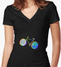 Silhouette of a rainbow bike is isolated against a background of stars. Women's Fitted V-Neck T-Shirt