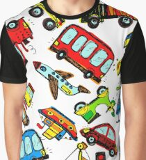 Funny Cars. kids seamless pattern texture. Hand drawn doodle illustration. Graphic T-Shirt
