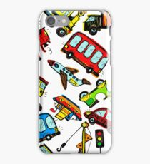 Funny Cars. kids seamless pattern texture. Hand drawn doodle illustration. iPhone Case/Skin