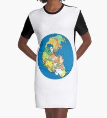 Pangea Political World Map Graphic T-Shirt Dress