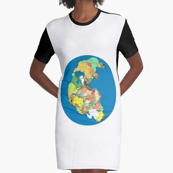 Pangea Political World Map Graphic T-Shirt Dress